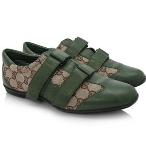 Gucci Brown Logo & Green Suede Velcro Sneakers